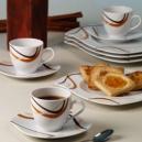 Service de table 30 pcs en porcelaine fine blanche décorée Trio Chocolaté