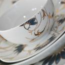 Service de table 30 pcs en porcelaine fine blanche décorée Pétale Bleuté