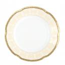Assiette ronde plate dessert, service de table en porcelaine blanche décorée galon or - Soleil Levant