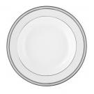 Assiette creuse à aile 22 cm en porcelaine, service de table en porcelaine blanche avec liseré de platine, couleur argentée