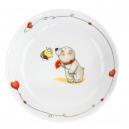 art de la table, service pour enfant, assiette creuse 19 cm Coeur de Marie en porcelaine, motif ours