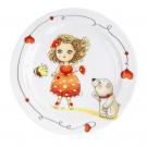 art de la table, set pour enfant, assiette plate 19 cm Coeur de Marie en porcelaine, motif petite fille et ours