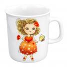 art de la table, set en porcelaine pour enfant, mug 0,22 l Cœur de Marie, motif petite fille