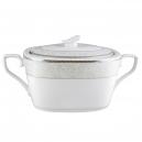 art de la table, service de table complet, vaisselle en porcelaine, soupière Comète Perlée en porcelaine