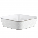 art de la table, service de table complet, vaisselle en porcelaine, saladier carré 27,5 cm Bosquet Argenté en porcelaine