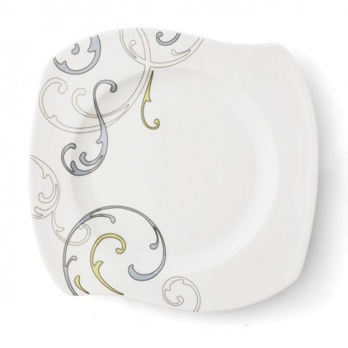 assiette plate 22 cm 25 cm diag po me v g tal en porcelaine. Black Bedroom Furniture Sets. Home Design Ideas