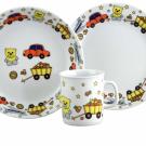 art de la table, set Mug Assiette Plate et Creuse en porcelaine Souvenirs d'enfance, motif voiture nounours