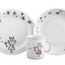 Set Mug Assiette Plate et Creuse Dessines moi une petite fille dans une boite à fenêtre, art de latble