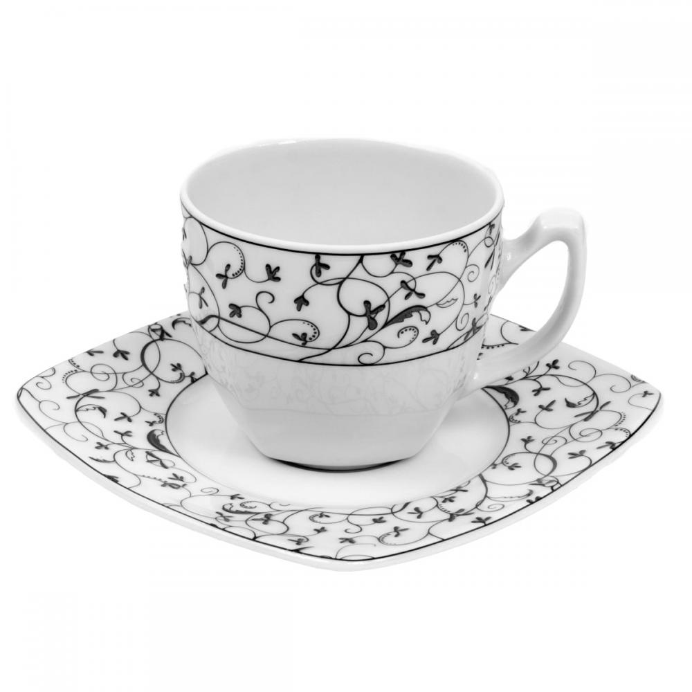 tasse th 200 ml avec soucoupe fleur de pommier en porcelaine fine blanche. Black Bedroom Furniture Sets. Home Design Ideas