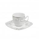 Tasse à café 0,1 l avec soucoupe Lavande en porcelaine