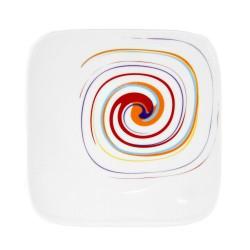Assiette plate carrée 25 cm Tourbillon Fruité en porcelaine