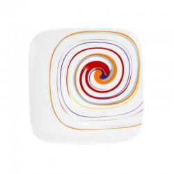 Assiette plate carrée 19 cm Tourbillon Fruité en porcelaine