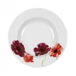 Assiette creuse ronde à aile 22,5 cm Au pays des Coquelicots en porcelaine blanche