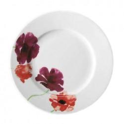 Assiette plate ronde à aile 20 cm Au pays des Coquelicots en porcelaine blanche