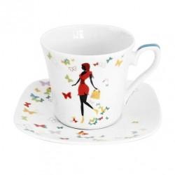 Tasse à thé 220 ml avec soucoupe carrée Jolie Demoiselle