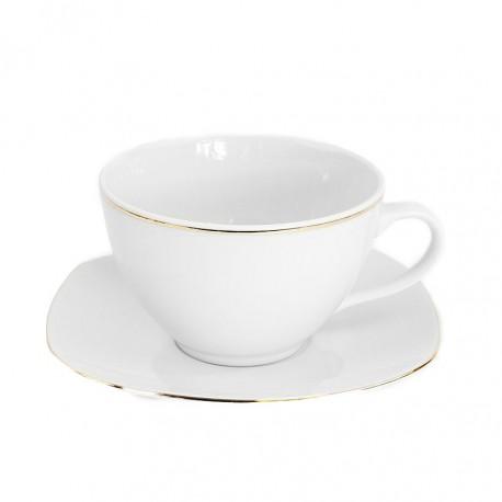 Tasse à thé 400 ml avec soucoupe en porcelaine, service à thé en porcelaine, art de la table et porcelaine