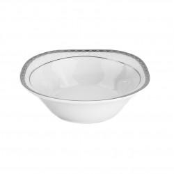 Saladier carré 16 cm Bosquet Argenté en porcelaine
