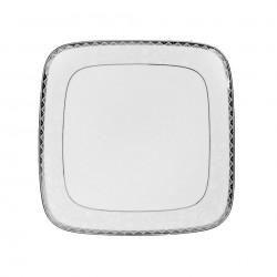 Assiette plate carrée 19 cm Bosquet Argenté? en porcelaine