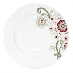 Assiette plate à aile 27 cm Fuchsia en porcelaine