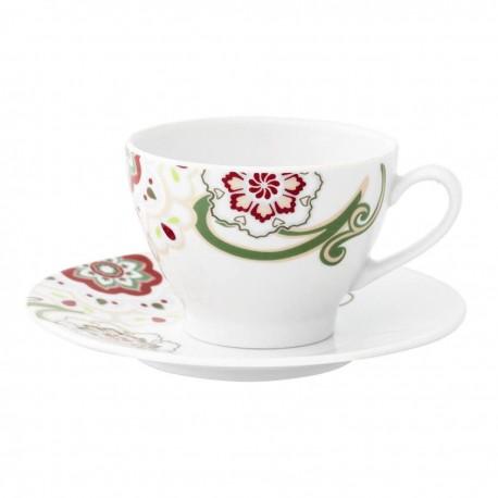 Tasse à thé 0,28 l avec soucoupe ronde Fuchsia en porcelaine