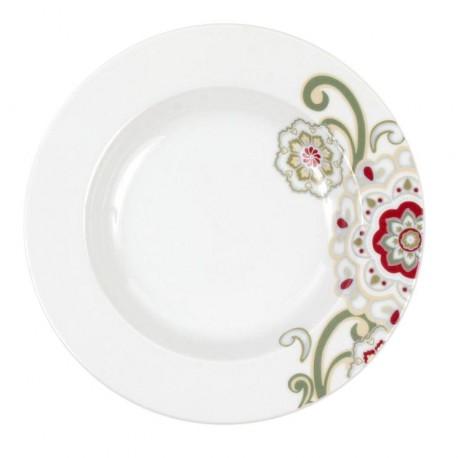 Assiette creuse à aile 22,5 cm Fuchsia en porcelaine