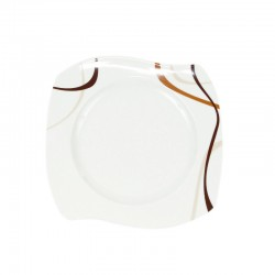 Assiette plate 22 cm, trio chocolatée en porcelaine, art de la table moderne