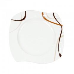 Assiette plate 27,5 cm (31 cm diag) Trio Chocolaté en porcelaine