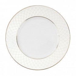 Assiette à aile plate ronde 20 cm porcelaine, service de table complet blanc avec galon or