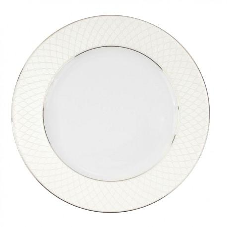 Assiette à aile plate ronde 27 cm en porcelaine, service de table complet avec liseré d'or