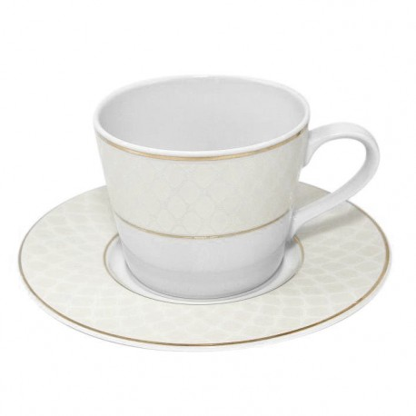 Tasse à thé 220 ml en porcelaine avec galon or