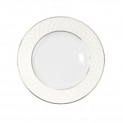 Assiette à aile plate ronde 18 cm en porcelaine, service complet de vaisselle en porcelaine blanc avec liseré or