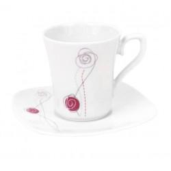 Tasse à café 100 ml avec soucoupe carrée Rose de Damas en porcelaine