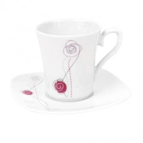 Tasse à café 100 ml avec soucoupe carrée Rose en porcelaine