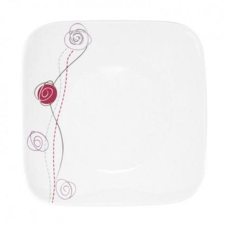 Assiette plate carrée 19 cm Rose en porcelaine