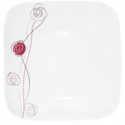 Assiette plate carrée 25 cm Rose de Damas en porcelaine