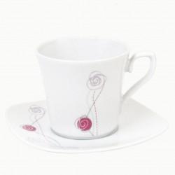 Tasse à thé 220 ml avec soucoupe carrée Rose en porcelaine