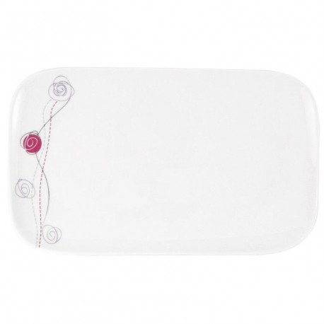 Plat rectangulaire 30 cm Rose en porcelaine