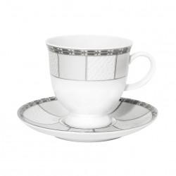 Tasse à thé 220 ml avec soucoupe 14 cm Vague de neige en porcelaine
