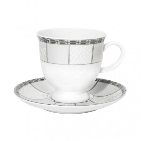 Tasse à thé 220 ml avec soucoupe 14 cm danse de l'ecume en porcelaine
