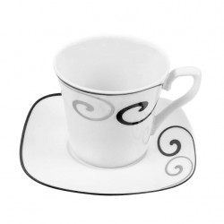 Tasse à thé 220 ml avec soucoupe Hibiscus en porcelaine