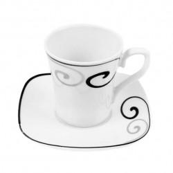 Tasse à café 100 ml avec soucoupe Hibiscus en porcelaine