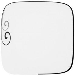 Assiette plate carrée 25 cm Hibiscus en porcelaine