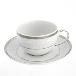 Tasse à thé 200 ml avec soucoupe Montbretia en porcelaine