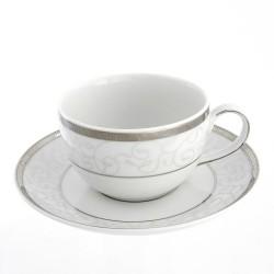 Tasse à thé 250 ml avec soucoupe Jardin Secret en porcelaine