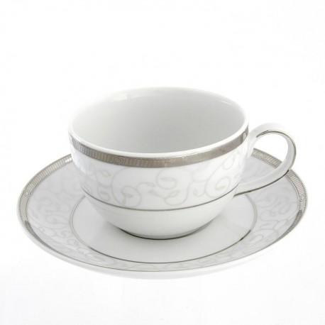 Tasse à thé 250 ml avec soucoupe Montbretia en porcelaine