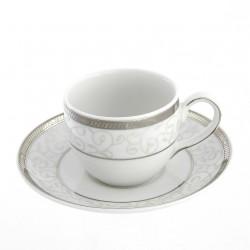 Tasse à café 100 ml avec soucoupe Montbretia en porcelaine