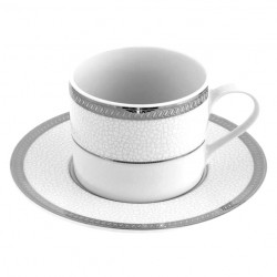 Tasse à café / thé 220 ml Fleur de Lin avec soucoupe