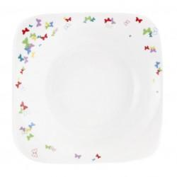 Assiette creuse carrée 20,5 cm Jolie Demoiselle en porcelaine