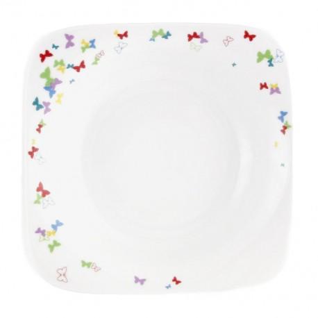 Assiette creuse carrée 20,5 cm Belle de Jour en porcelaine