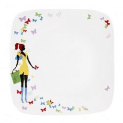 Assiette plate carrée 25 cm Jolie Demoiselle en porcelaine